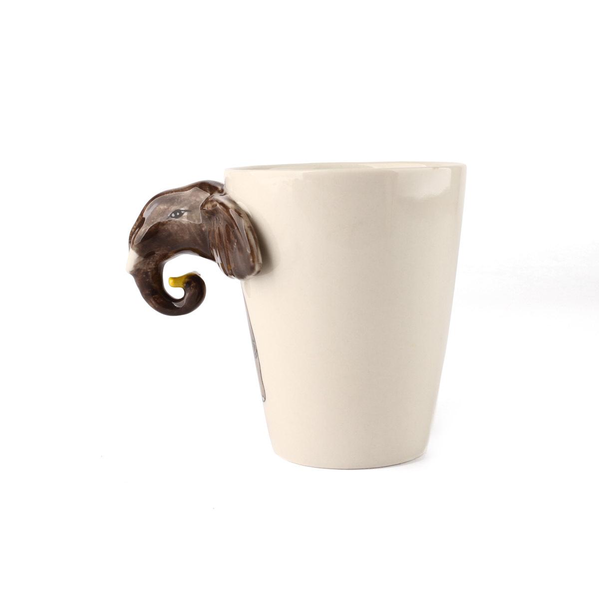 杯子造型都很普通,homee手绘动物系列陶瓷杯非常有趣,设计采用3d动物