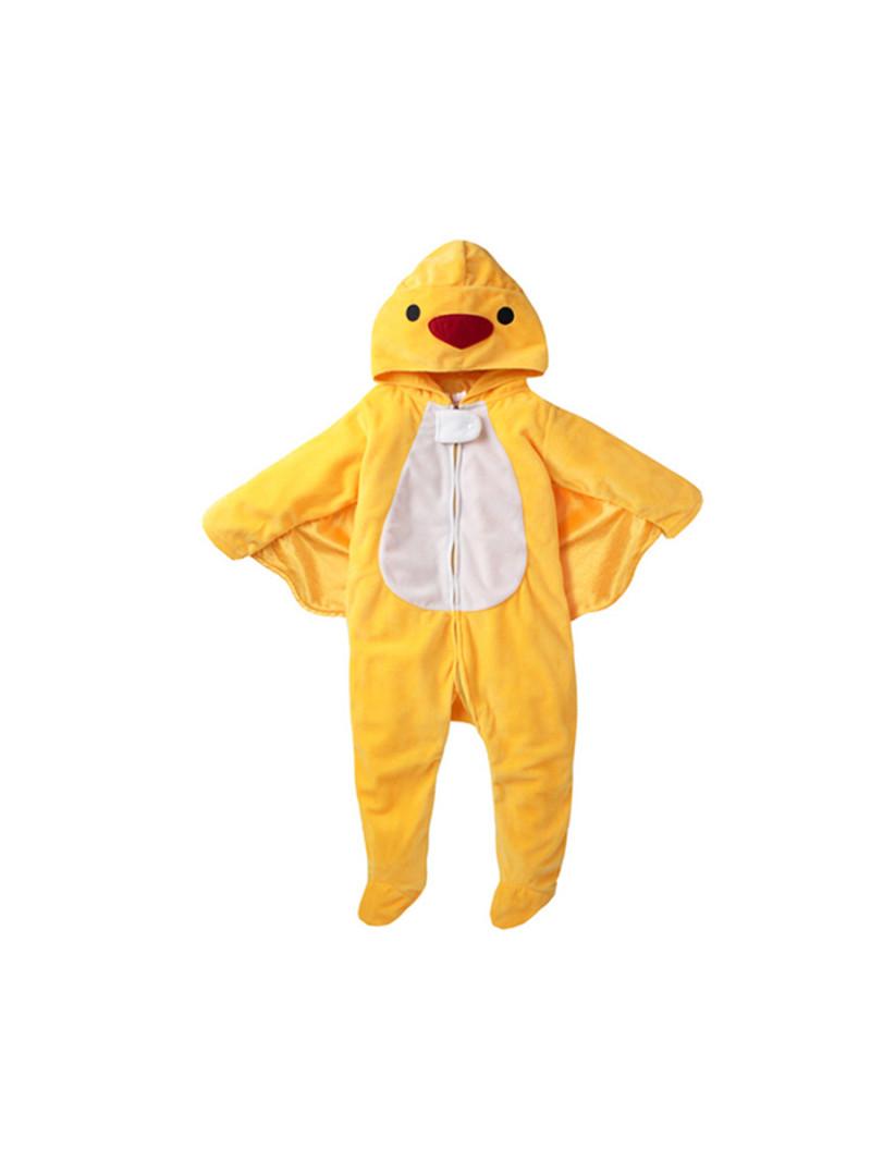 别致造型可爱立体 · 动物造型水晶绒面料包脚连体衣0-3岁 黄小鸭 0-3
