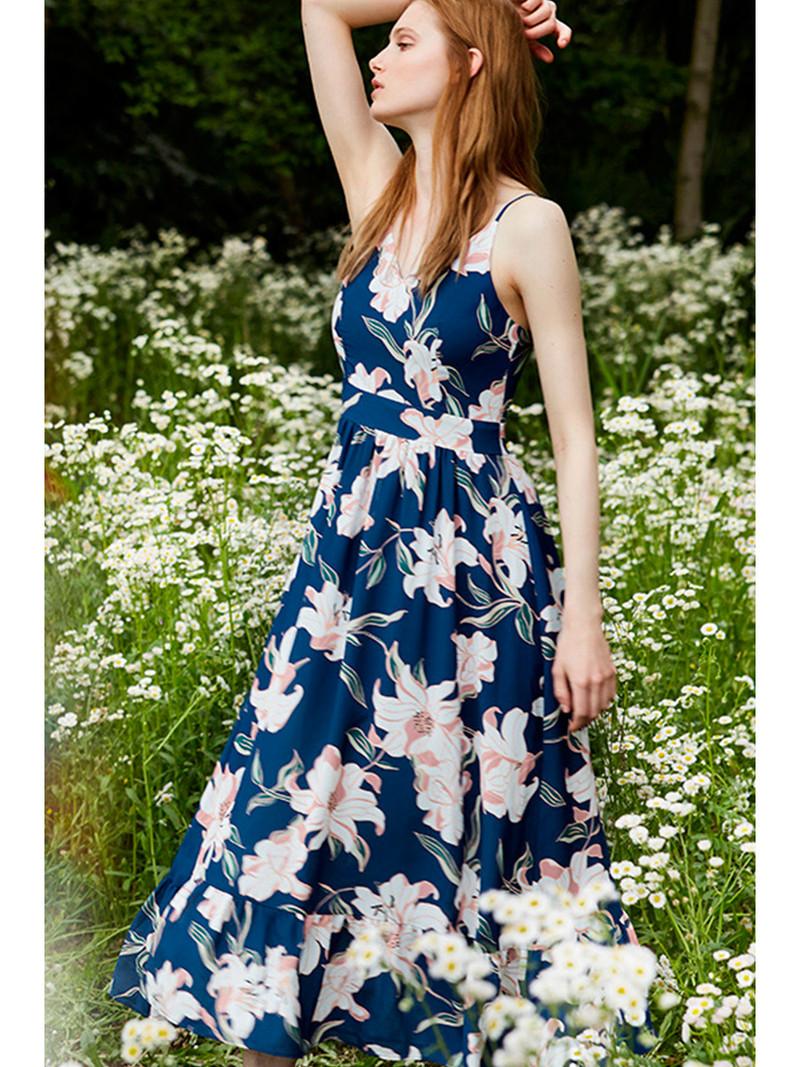 你是我眼中的风景 · 印花高腰拼接吊带长裙 蓝 m