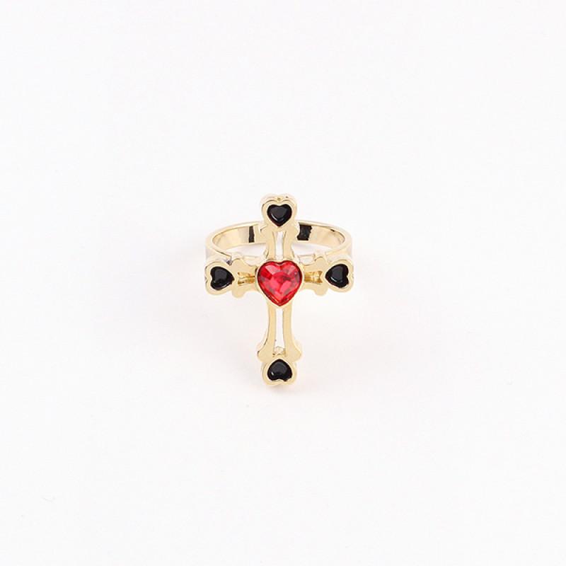 风十字架红心戒指