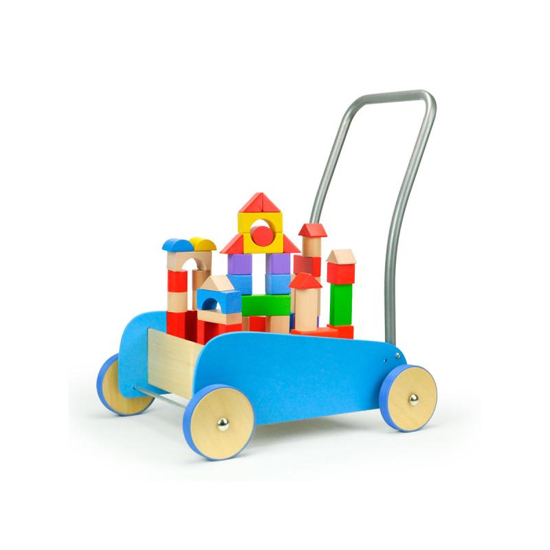 搭些简单的小造型,慢慢地可以在小车上搭建积木城堡哟.