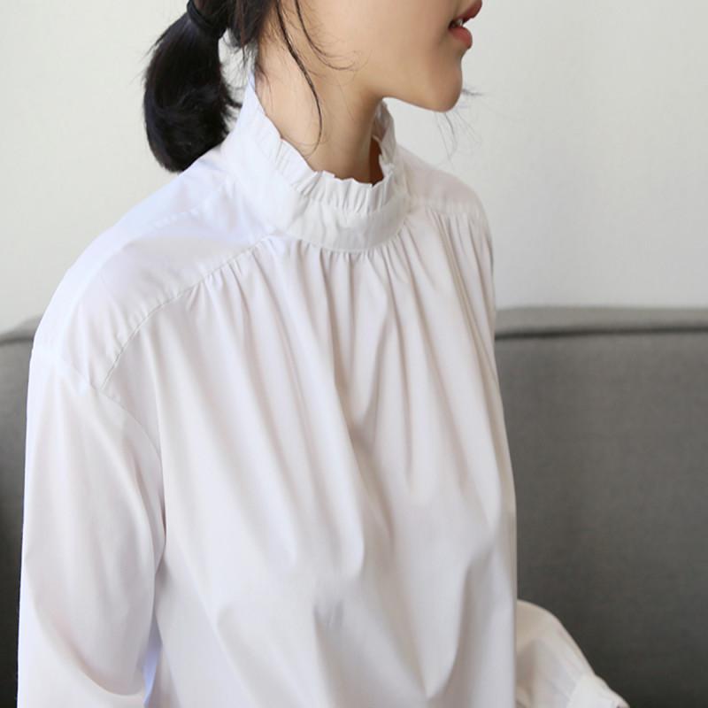 素雅柔美干净 · 束带褶皱边设计领口纯棉衬衫 白 均码