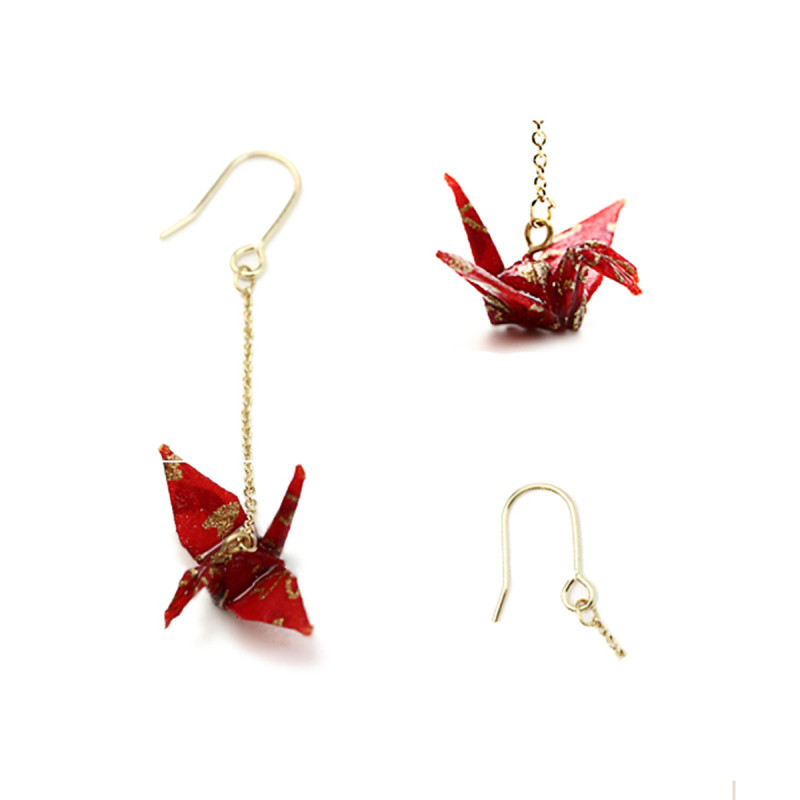 日系和风手工制作 · 千纸鹤耳环 红色