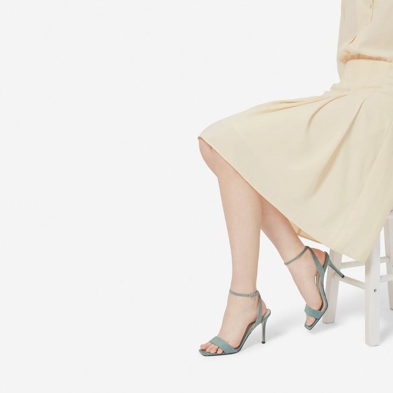 露趾一字带细跟 · 纯色简约一字带饰女士凉鞋CK1-60361176 Mint Green薄荷绿色 36