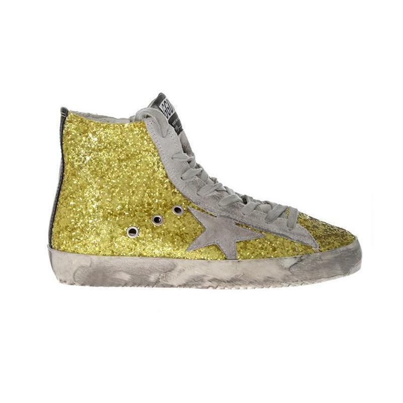GOLDENGOOSE黄金鹅五角星装饰女士高帮小脏鞋37黄色